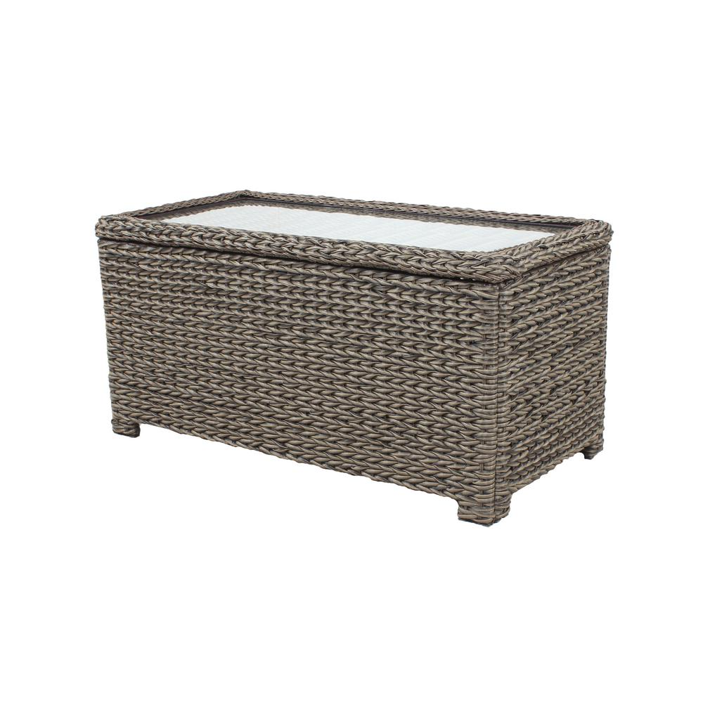 Remarkable Hampton Bay Laguna Point Brown Wicker Outdoor Patio Storage Coffee Table Evergreenethics Interior Chair Design Evergreenethicsorg