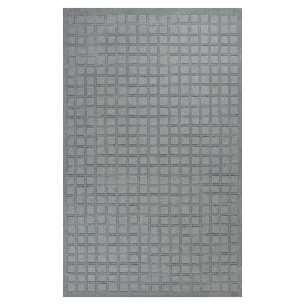 Kas Rugs Square is Chic Grid Blue/Cream 5 ft. x 8 ft. Area Rug