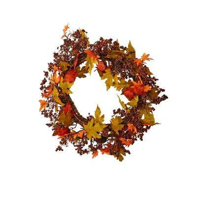 21 in. Fall Maple Leaves Wreath