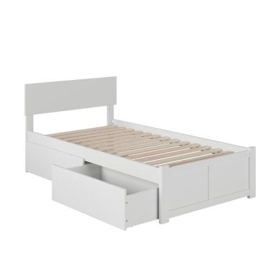 Orlando White Twin Platform Bed with Flat Panel Foot Board and 2 Urban Bed Drawers
