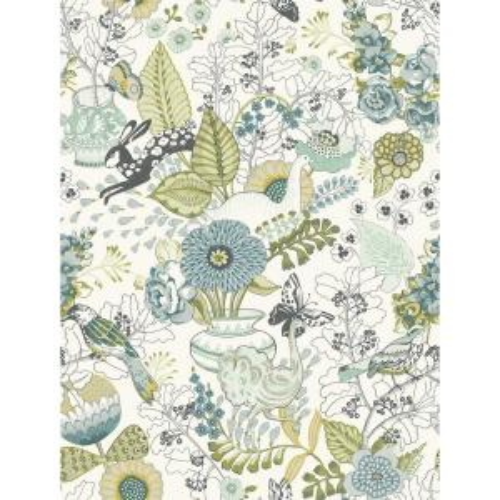 8 in. x 10 in. Whimsy Green Fauna Wallpaper Sample