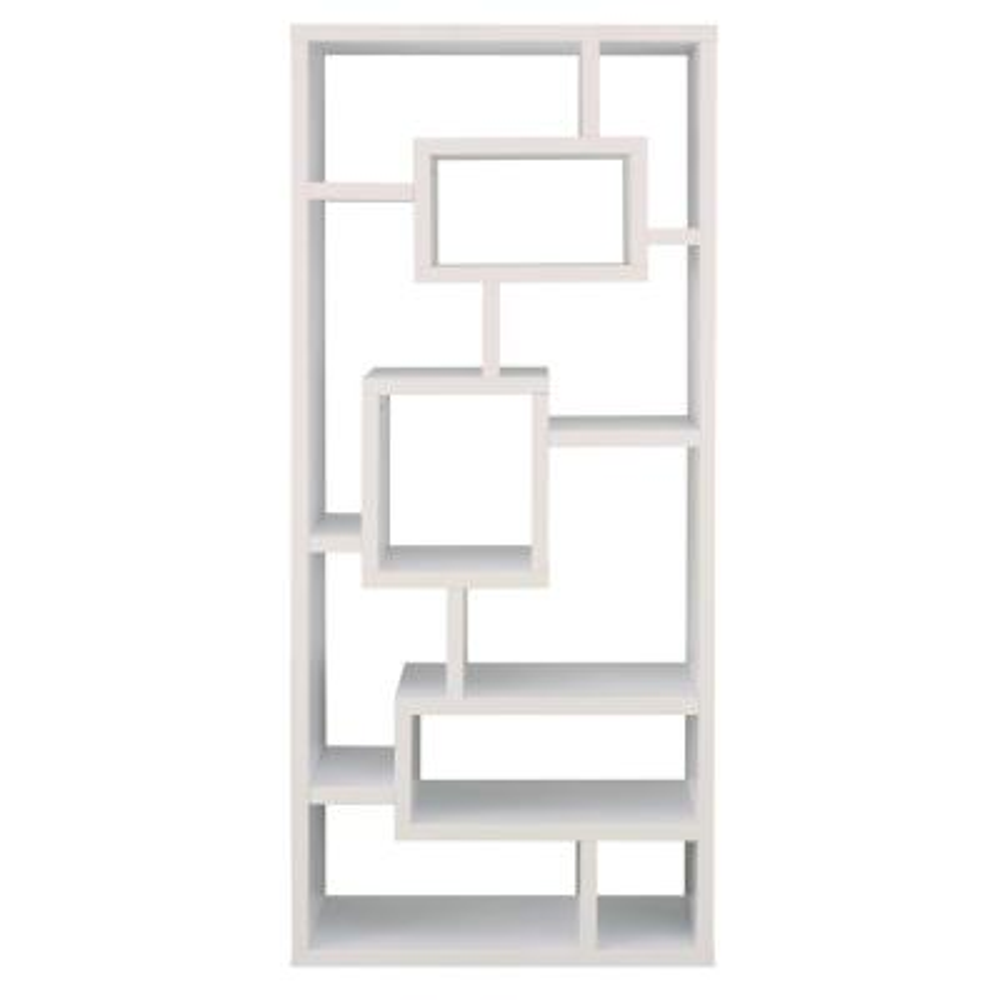 71 in. White Wood 11-shelf Standard Cube Bookcase