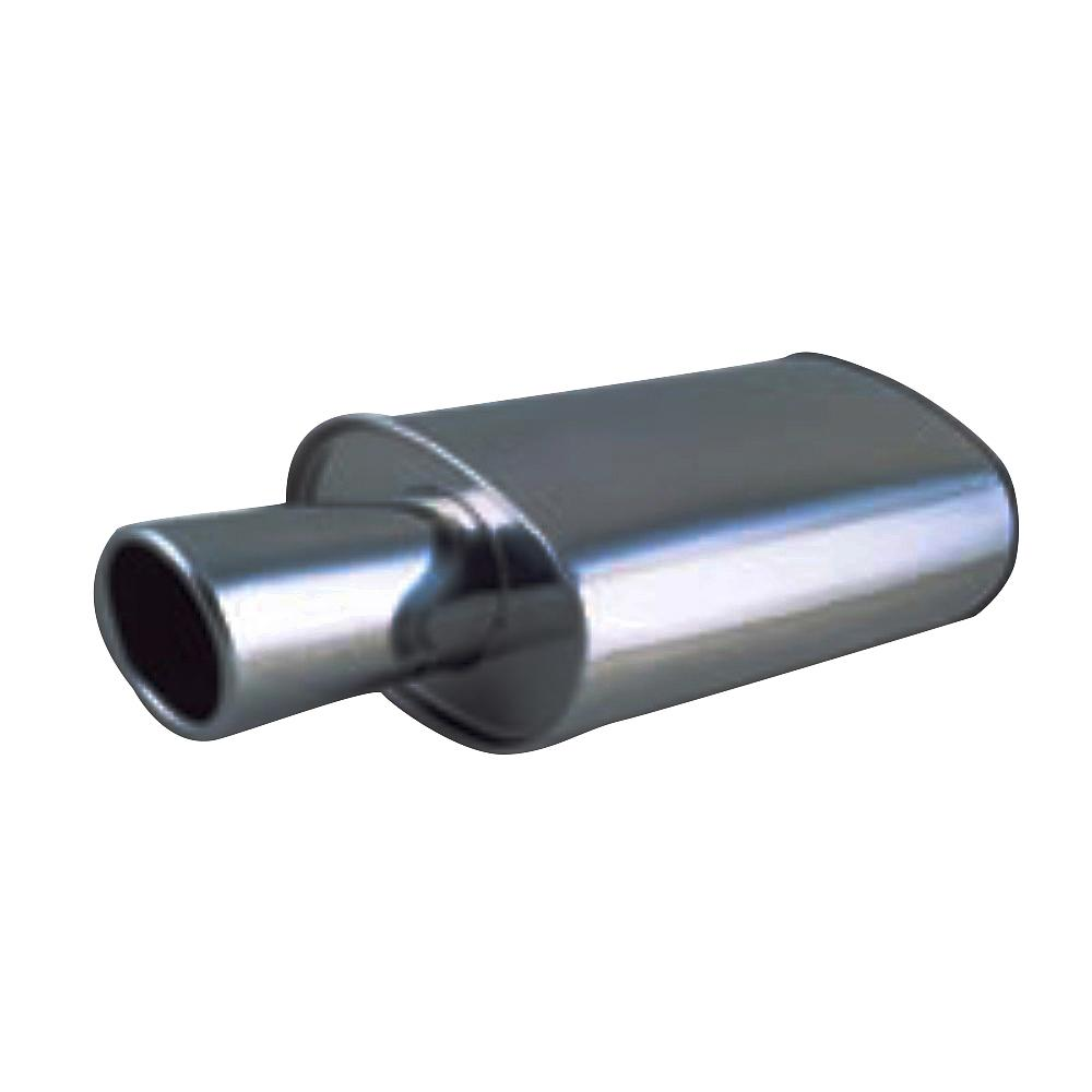 """Vibrant 1042 STREETPOWER Oval Muffler 4/"""" Round Angle Cut Tip 3/"""" inlet"""
