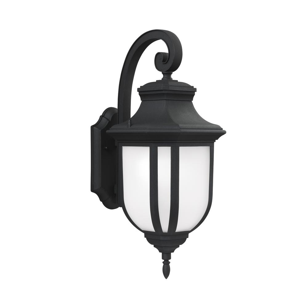 Sea Gull Lighting Childress 1-Light Black Outdoor 21.25 in. Wall Lantern Sconce with LED Bulb