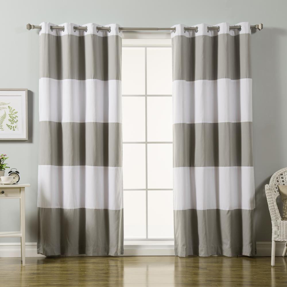 84 in. L Grey Rugby Stripe Cotton Blend Blackout Curtains in