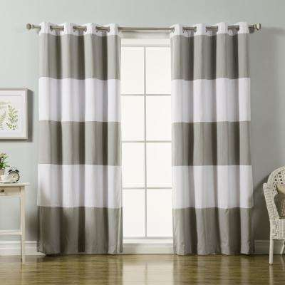 84 in. L Grey Rugby Stripe Cotton Blend Blackout Curtains in White (2-Pack)