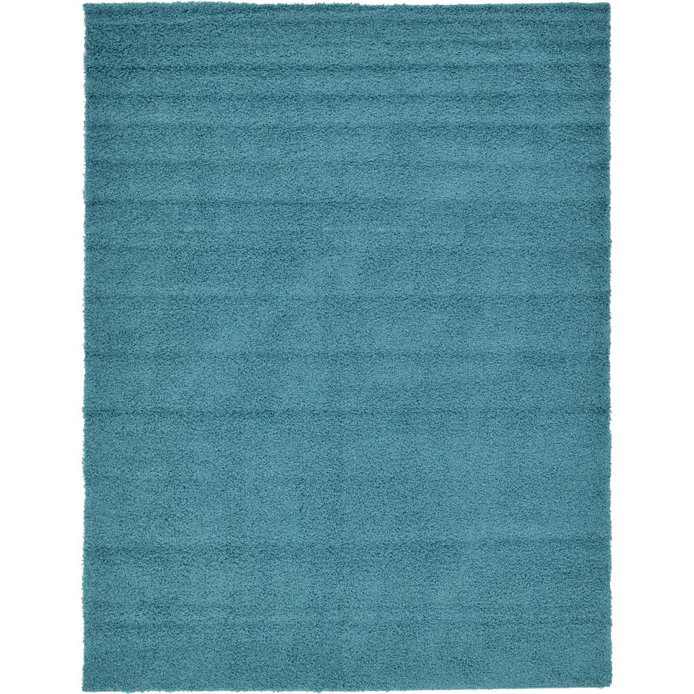 Unique Loom Solid Shag Aqua Blue 9 Ft. X 12 Ft. Area Rug