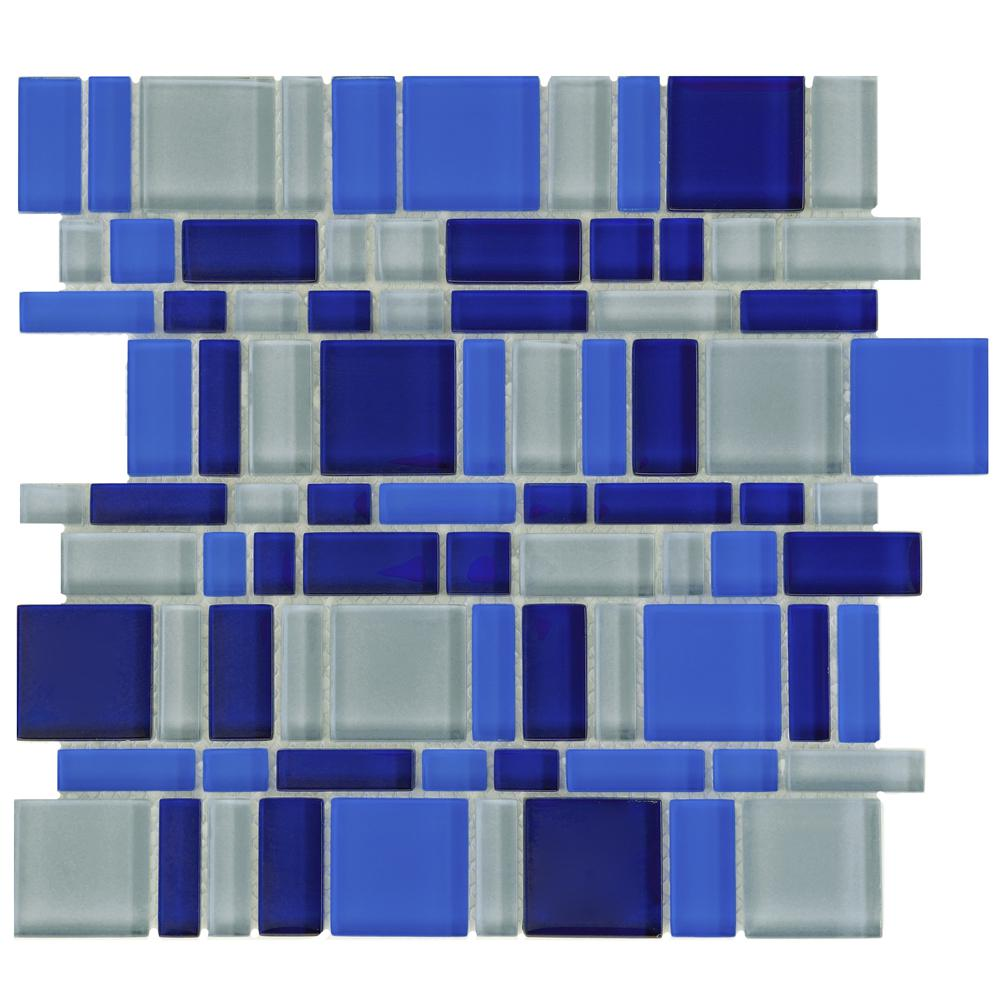 Merola Tile Tessera Magic Celeste 11-3/4 in. x 11-3/4 in. x 8 mm ...