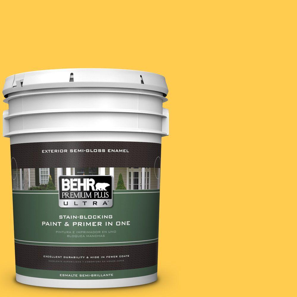 5-gal. #340B-6 Pineapple Soda Semi-Gloss Enamel Exterior Paint