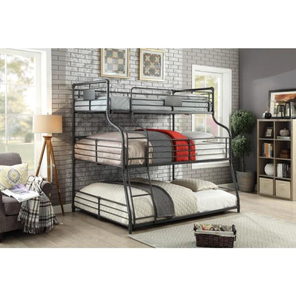 Furniture Of America Henty Black Twin Xl Over Full Over Queen Triple Bunk Bed Idf Bk918 The Home Depot