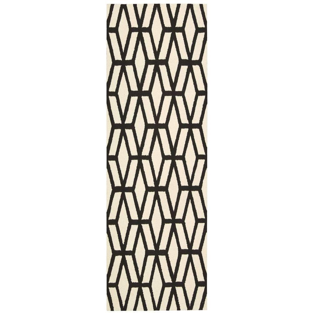 Nourison Linear Ivory Black 2 Ft 3 In X 7 Ft 6 In Rug