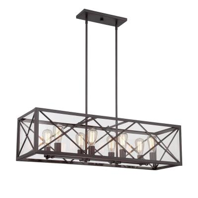 High Line 8-Light Satin Bronze Interior Incandescent Island Pendant