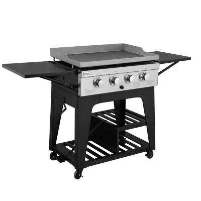 34 in. 4-Burner Propane Gas Grill in Black with Griddle Top
