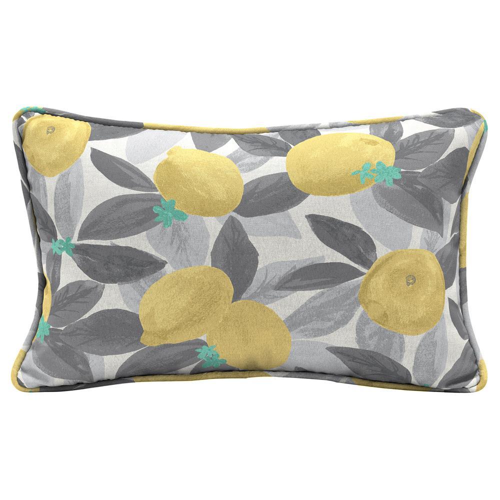 Stone gray lemons Lumbar Outdoor Throw Pillow (2-Pack)