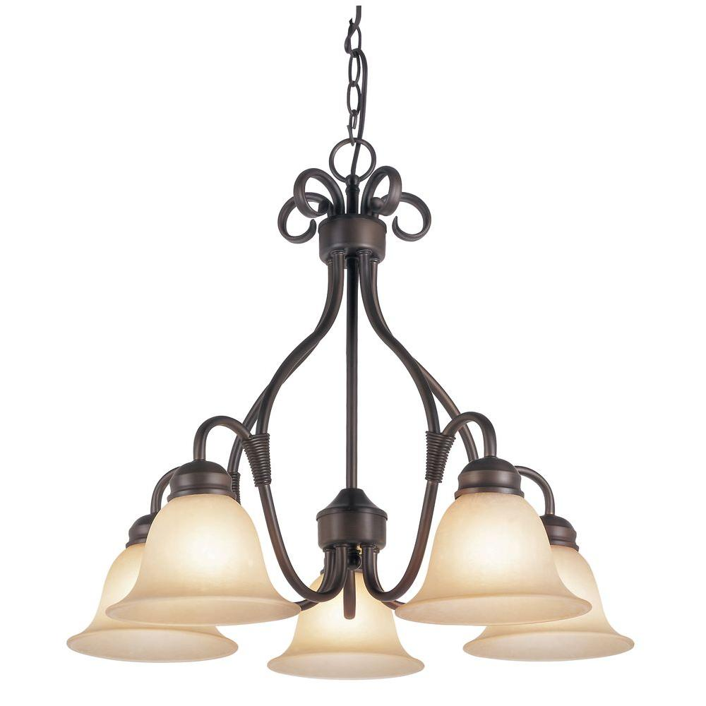 Bel Air Lighting Cabernet Collection 5-Light Oiled Bronze Chandelier with Tea Stained Shade