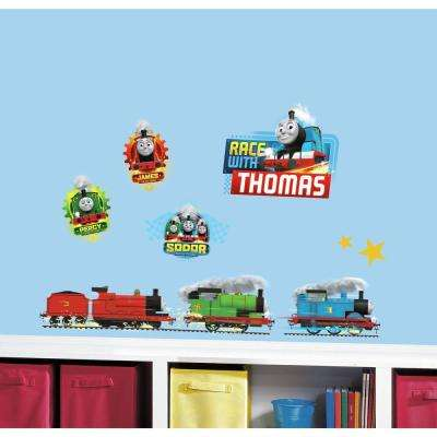 5 in. x 11.5 in. Thomas and Friends Racing 30-Piece Peel and Stick Wall Decal