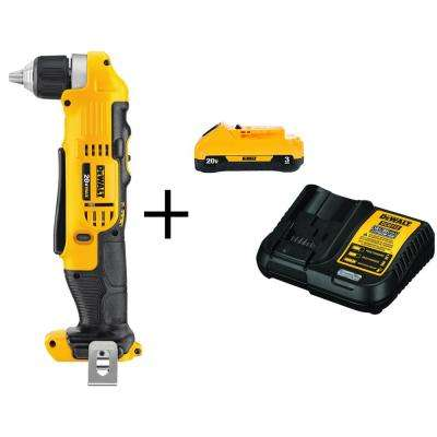 20-Volt MAX Lithium Ion Cordless 3/8 in. Right Angle Drill (Tool-Only) with Bonus 20-Volt MAX Battery 3.0Ah & Charger