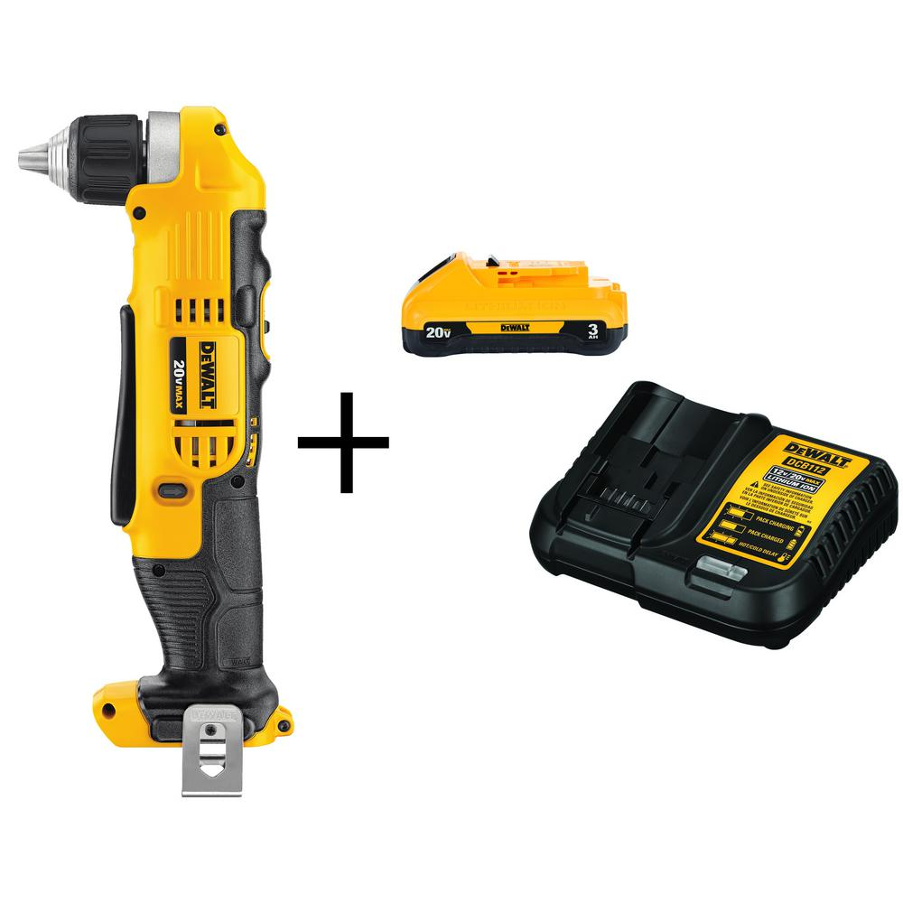 DEWALT 20-Volt MAX Lithium-Ion Cordless 3/8 in. Right Angle Drill (Tool-Only) with Free 20-Volt MAX Battery 3.0Ah & Charger was $248.0 now $129.0 (48.0% off)
