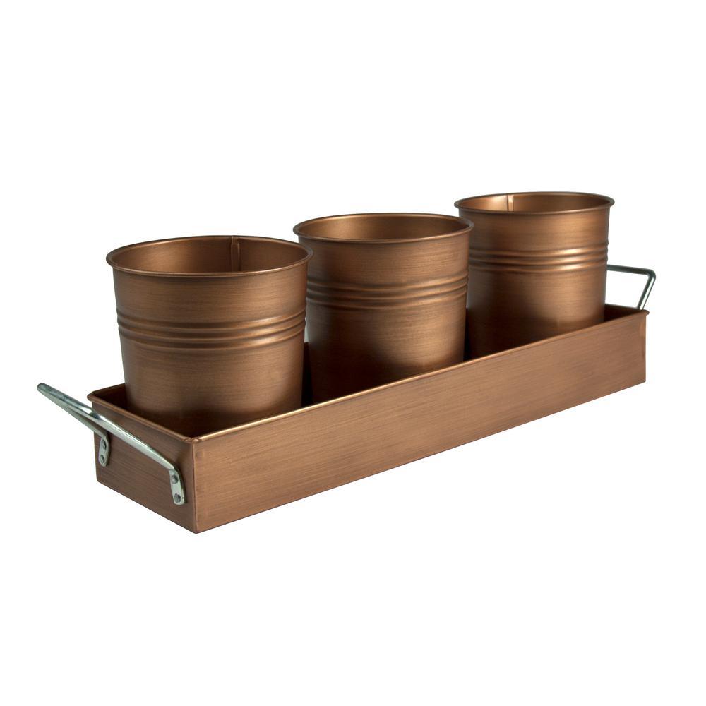 4 in. D x 5 in. H x 17.5 in. L Flatware Caddy with 3 Cups in Antique Copper