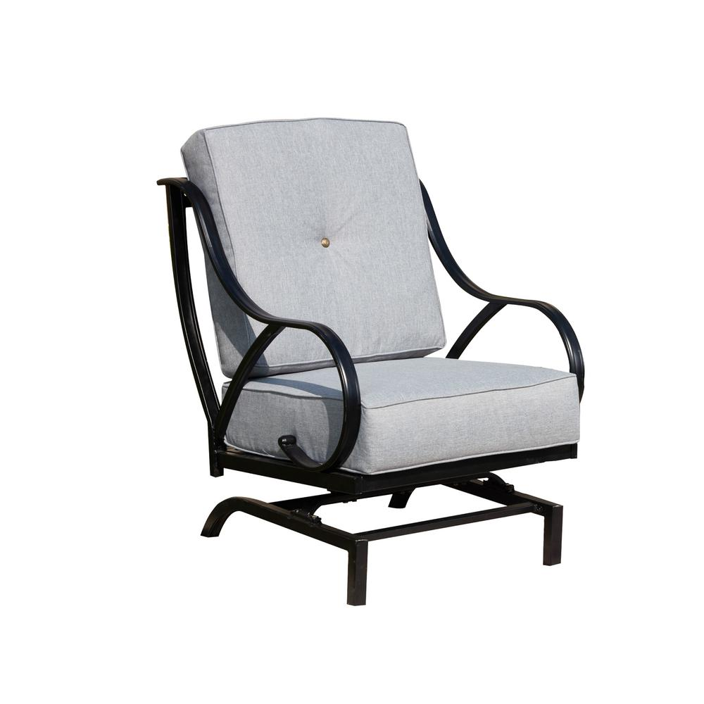 Patio Festival Metal Outdoor Rocking Chair With Gray