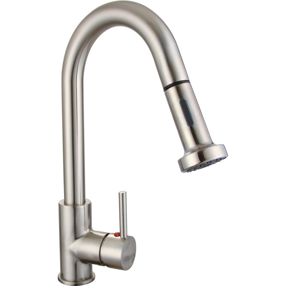 Vanity Art 8.86 in. Single-Handle Pull-Down Sprayer Kitchen Faucet in Brushed Nickel was $122.0 now $85.4 (30.0% off)