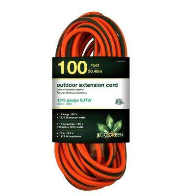 100 ft. 12/3 SJTW Extension Cord - Orange with Lighted Green Ends