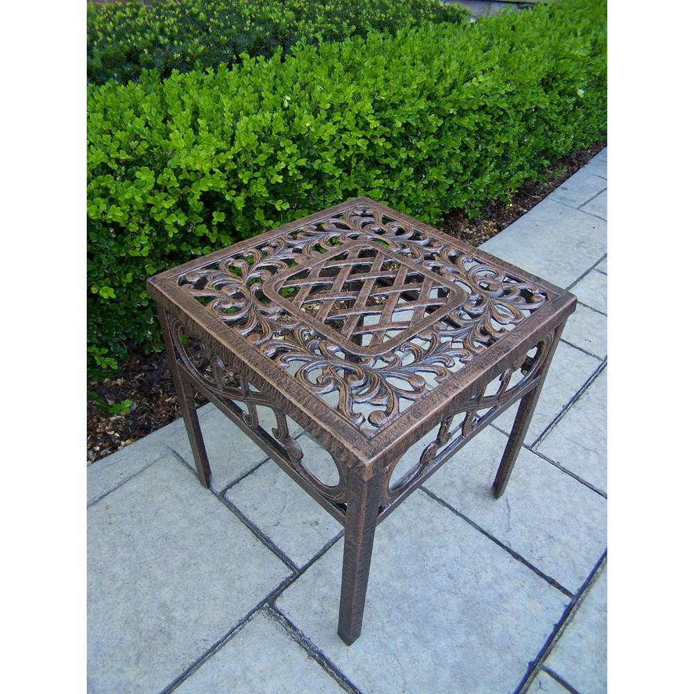 Cast Aluminum 17 in. Square Patio Side Table