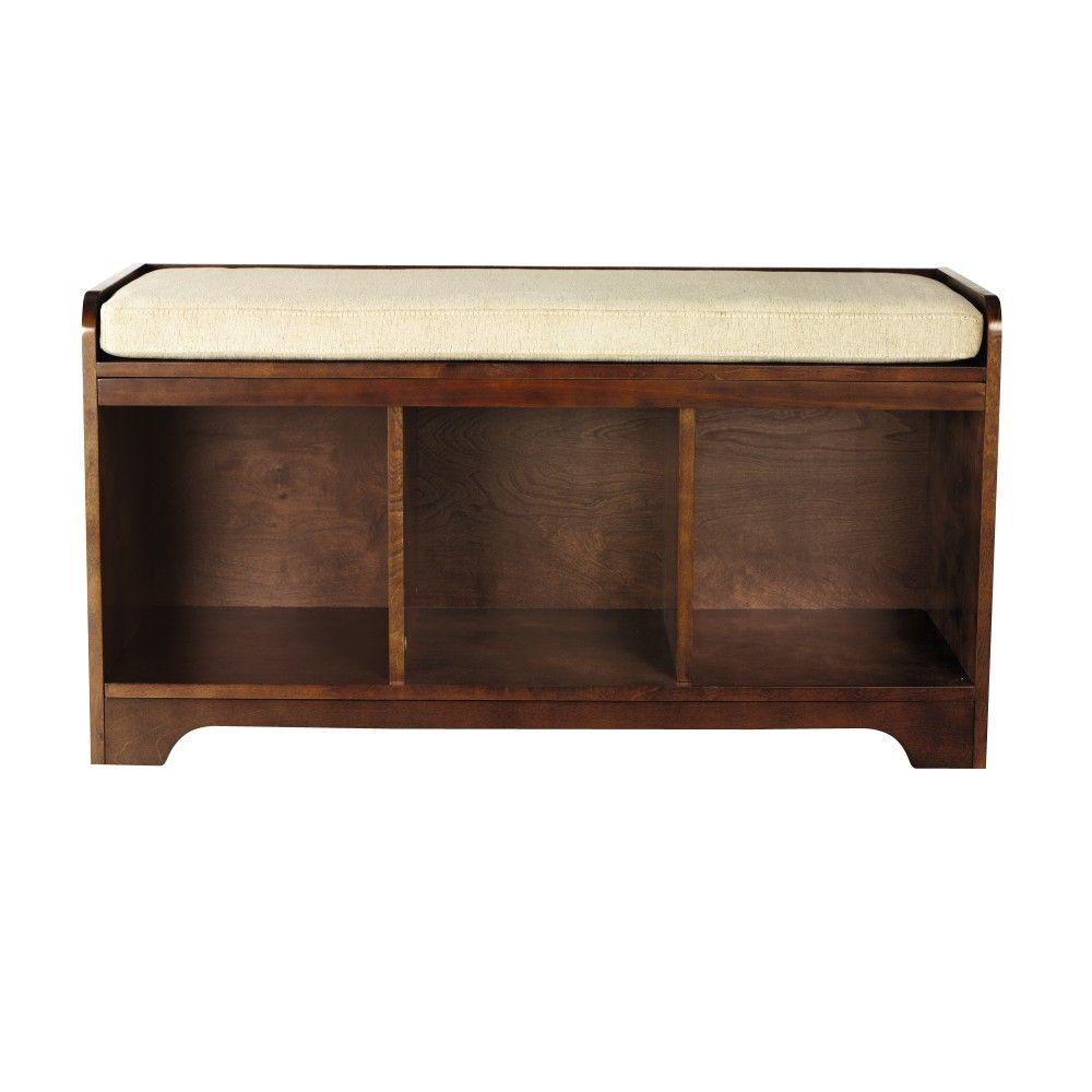 Home decorators collection wellman espresso storage bench for Home decorators bench