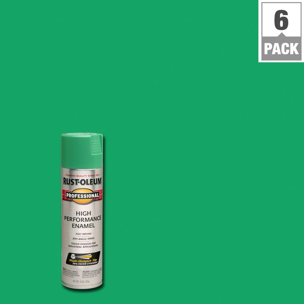 High Performance Enamel Gloss Safety Green Spray Paint 6 Pack 7533838 The Home Depot