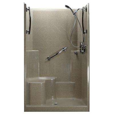 Freedom Chrome-V 48 in. x 37 in. x 80 in. 1-Piece Low Threshold Shower Stall in Cotton Seed Kit, L-Seat, Center Drain