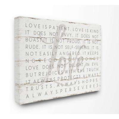 "30 in. x 40 in. ""Love Is Patient Grey on White Planked Look"" by Jennifer Pugh Canvas Wall Art"