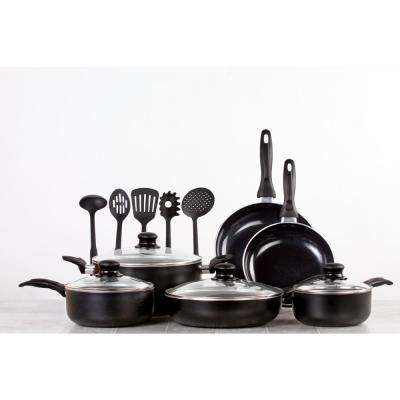 15-Pieces Nonstick Ceramic Cookware Set with Lids and Utensils