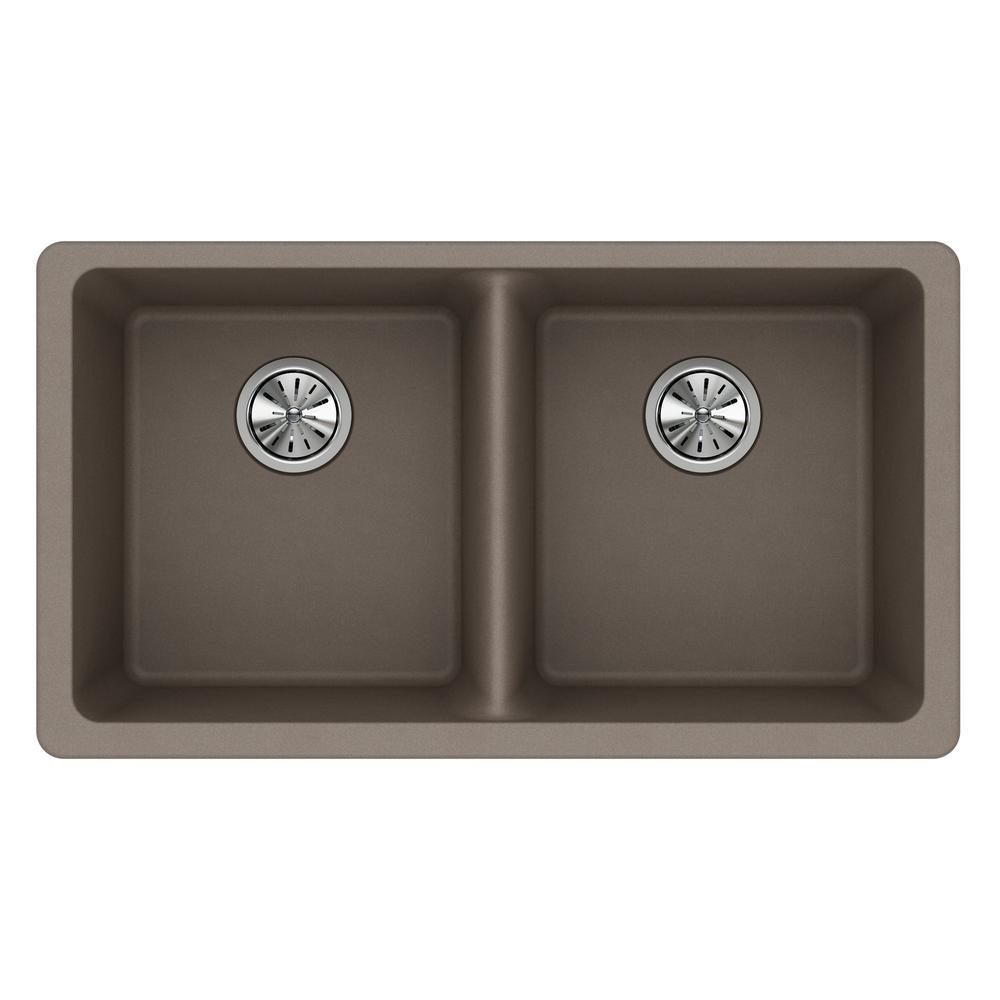 Quartz Classic Undermount Composite 33 in. 50/50 Double Bowl Kitchen Sink in Greige