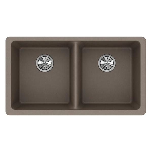 Elkay Quartz Classic Undermount Composite 33 In 50 50 Double Bowl Kitchen Sink In Dusk Gray Elgu3322gy0 The Home Depot