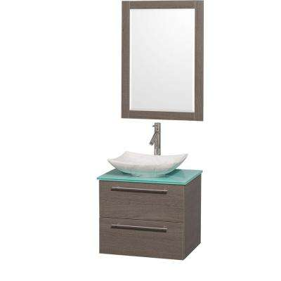 Amare 24 in. Vanity in Gray Oak with Glass Vanity Top in Green, Marble Sink and 24 in. Mirror