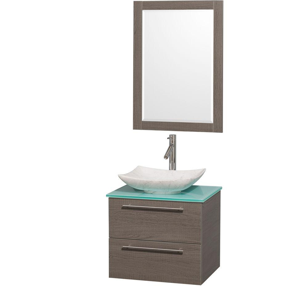 Wyndham Collection Amare 24 in. Vanity in Gray Oak with Glass Vanity Top in Green, Marble Sink and 24 in. Mirror