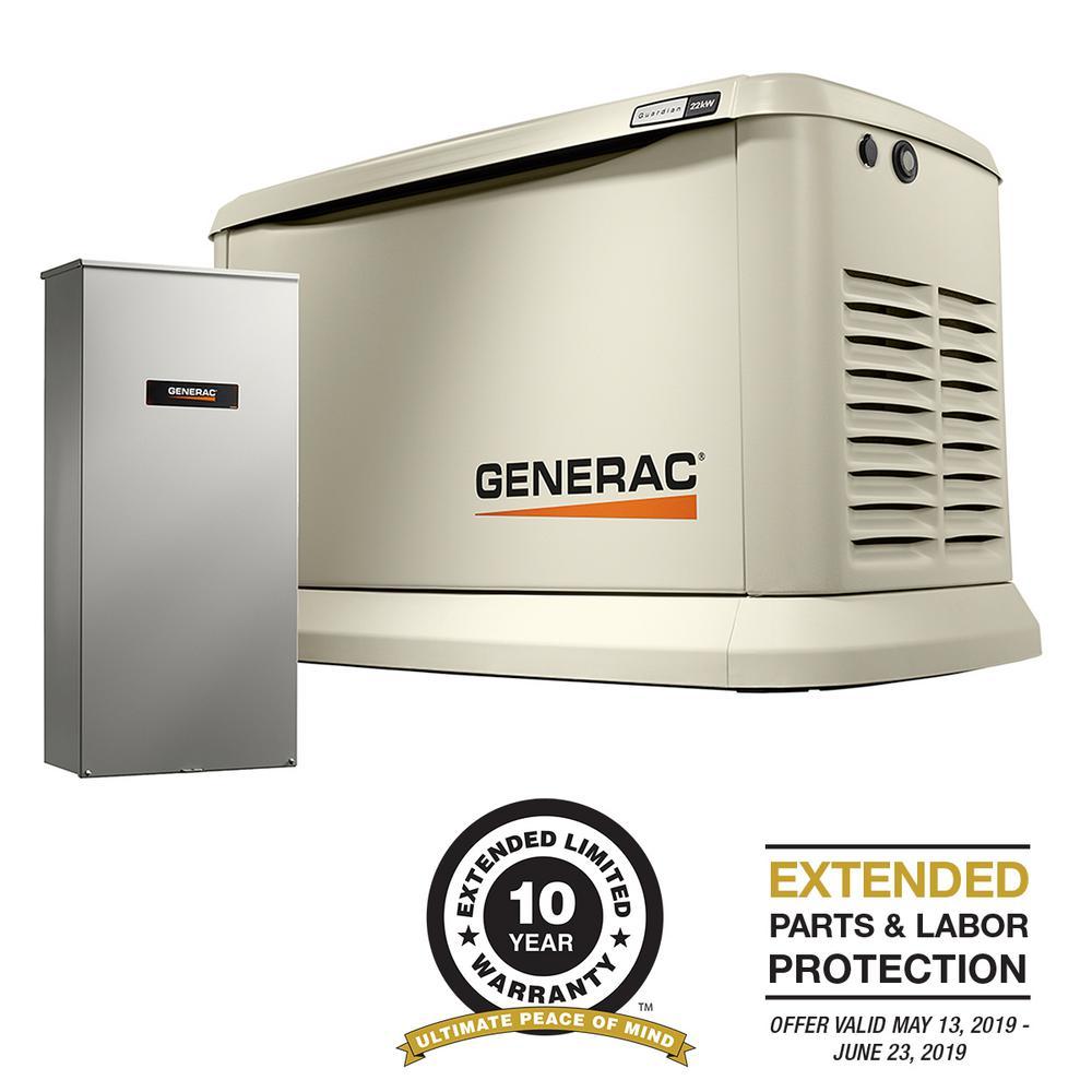 Generac 22000-Watt (LP)/19500-Watt (NG) Air-Cooled Standby Generator with Wi-Fi and Whole House 200 Amp NEMA3 Transfer Switch