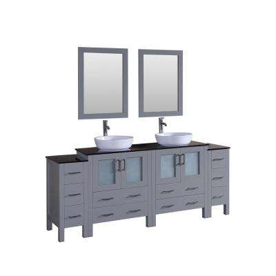 84 in. Double Vanity in Gray with Tempered Glass Vanity Top in Black with White Basin and Mirror