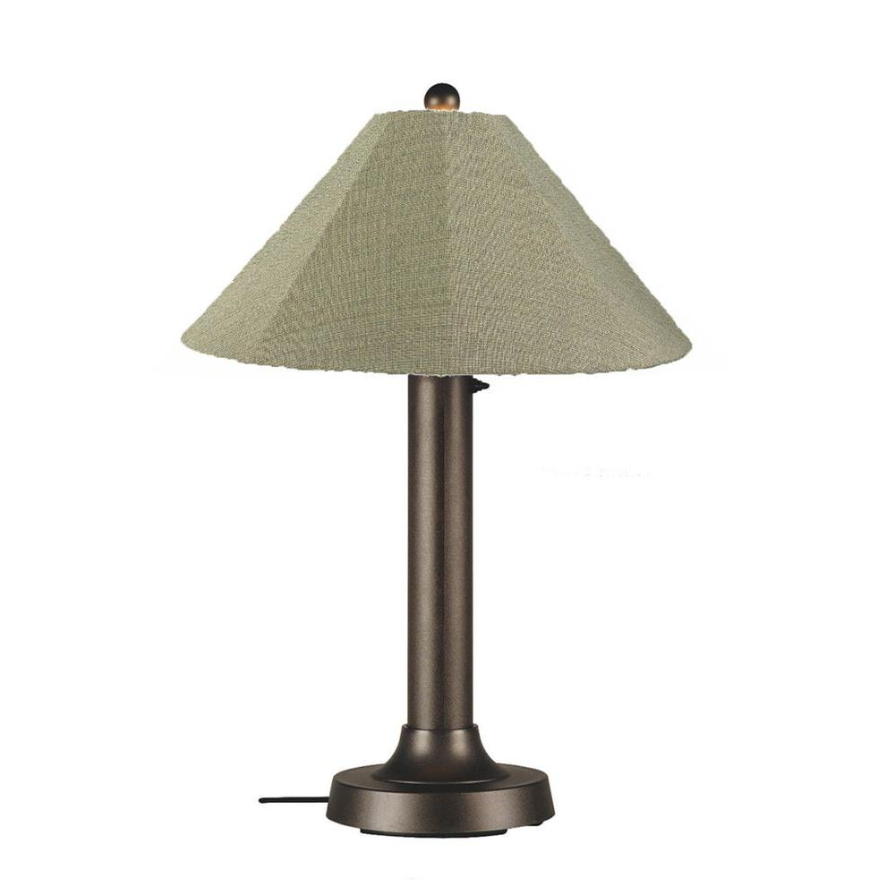 Patio Living Concepts Catalina 34 in. Bronze OutdoorTable Lamp with Basil Linen Shade