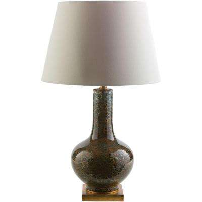Minsky  28.25 in. Navy Blue with Gold Foil Indoor Table Lamp