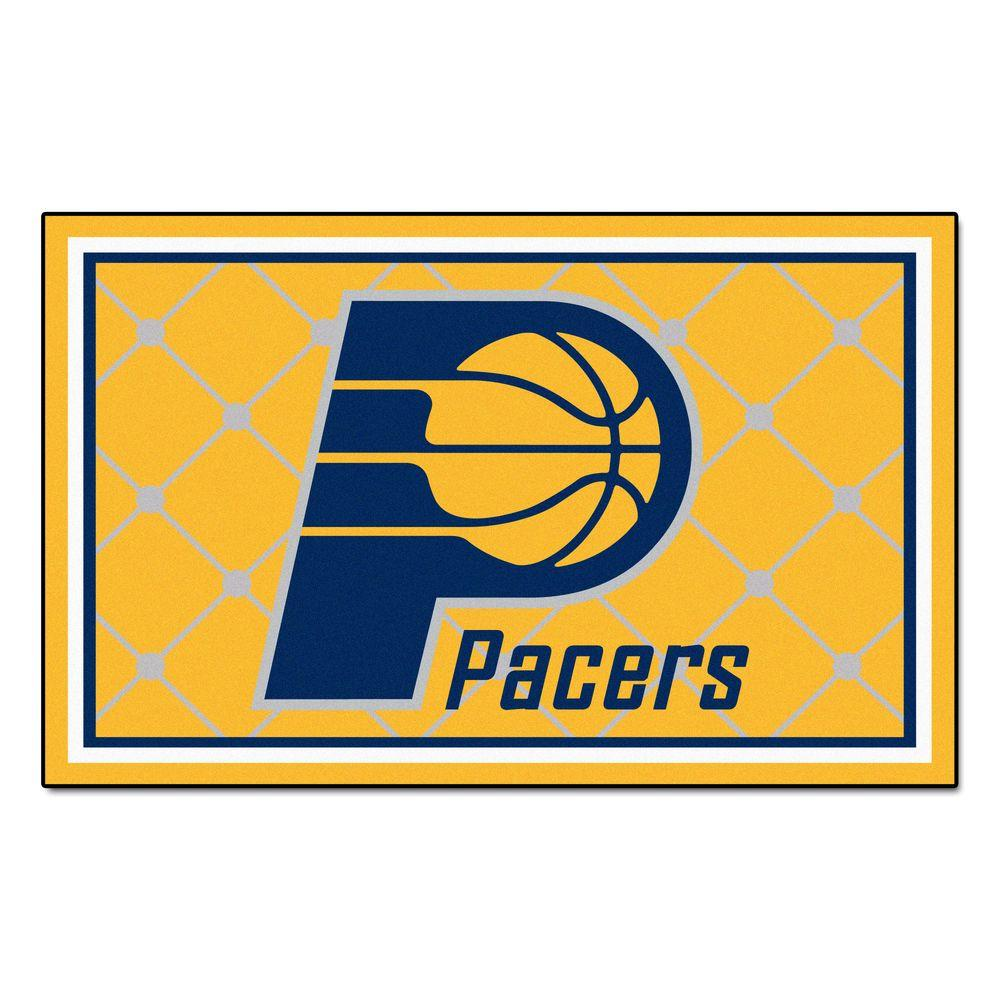 FANMATS Indiana Pacers 5 Ft X 8 Area Rug 9281 The