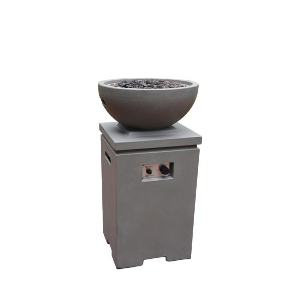 Exeter 21 in. x 38 in. Round Concrete Propane Fire Pit in Light Grey