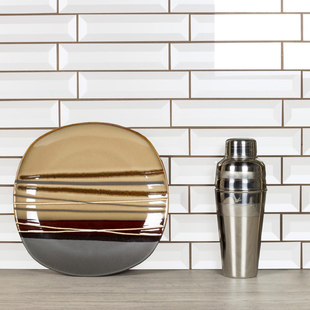 Forever Eternal White Deco 2 in. x 8 in. Glossy Inner Beveled Glass Wall Tile (9 Pk)