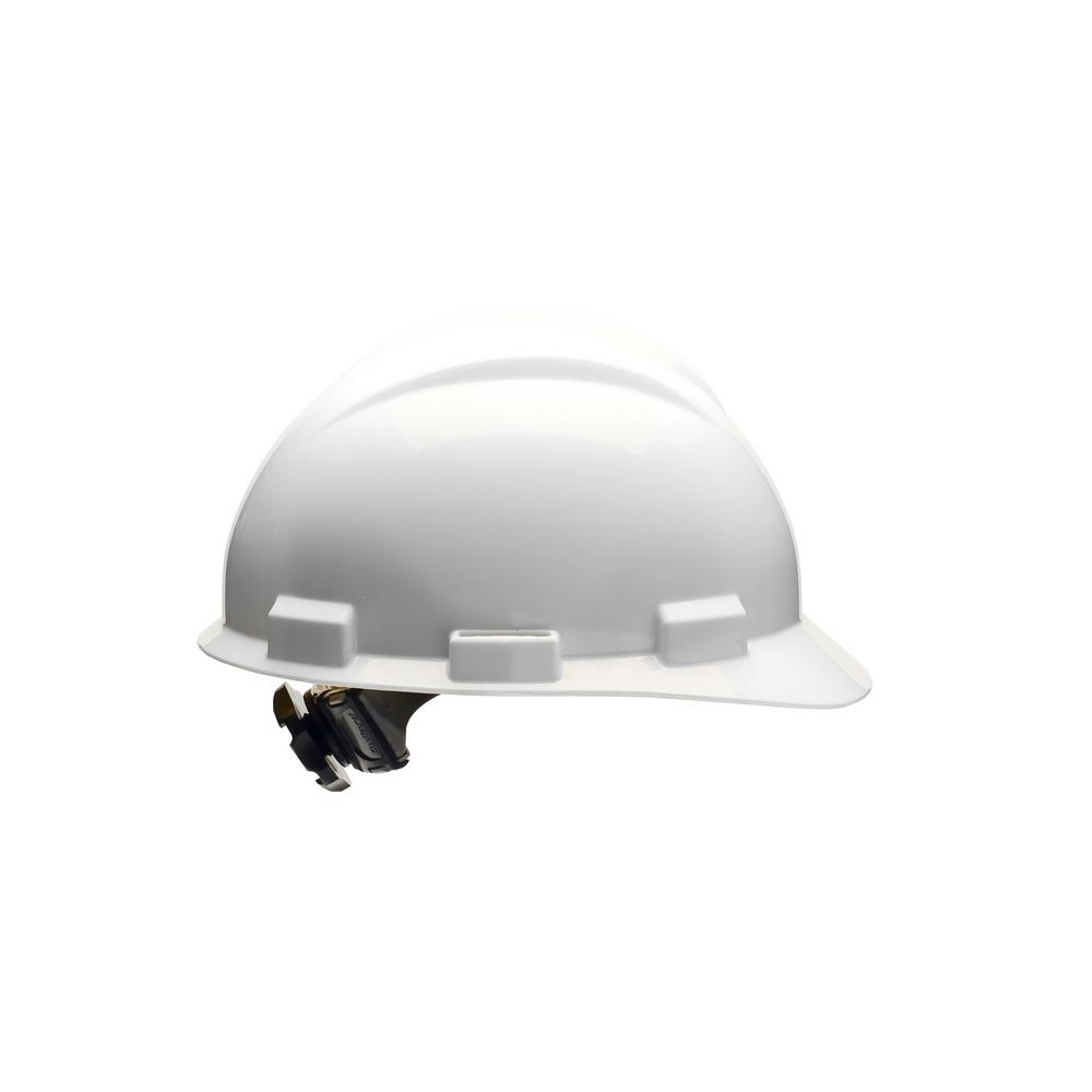 White 4 Point Ratchet Suspension Cap Style Hard Hat