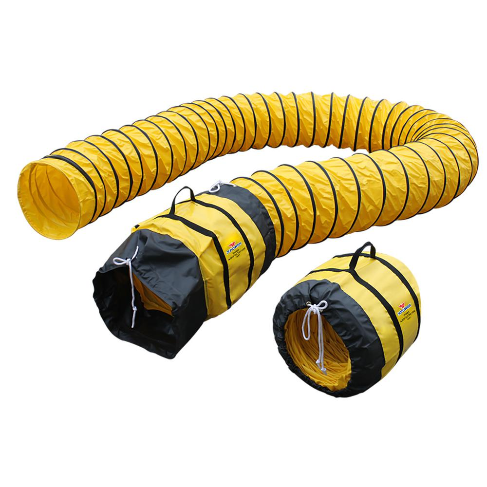 XPOWER Extra Flexible 16 in. Dia 15 ft. Ventilation PVC ...