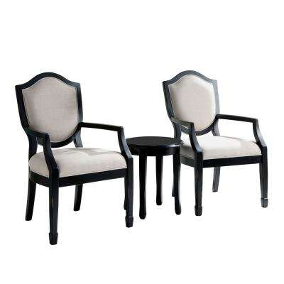 Dweight Black Linen Camelback 3-Piece Accent Table and Chair Set