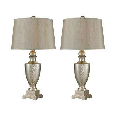 29 in. Antique Mercury Glass Table Lamps with Silver Accents (Set of 2)