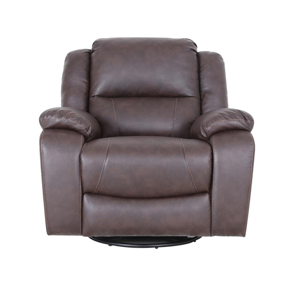Noble House Malic Classic Tufted Dark Brown Leather Swivel Recliner 41726 The Home Depot