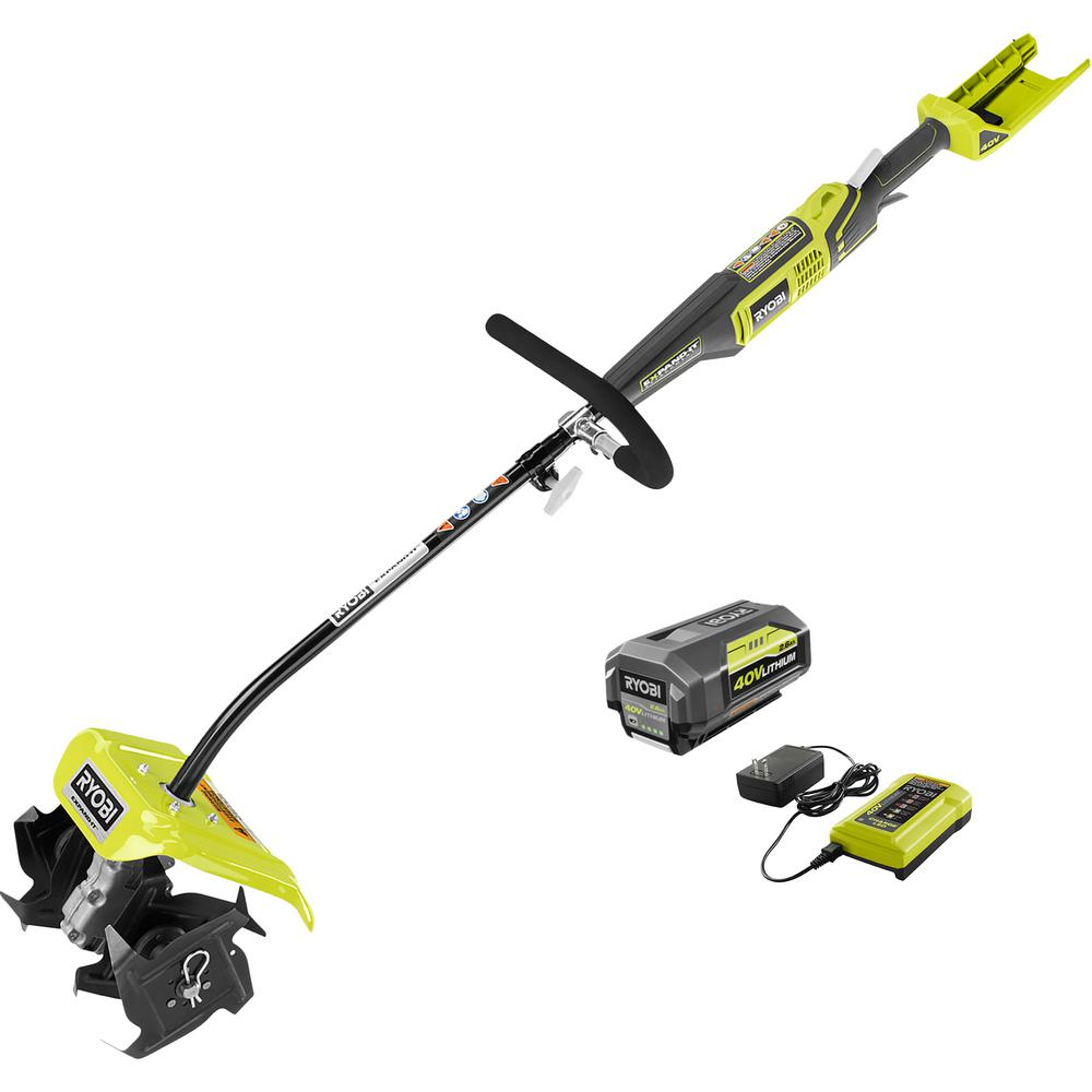 RYOBI 10 in. 40-Volt X Lithium-Ion Cordless Attachment Capable Cultivator - 2.6 Ah Battery and Charger Included