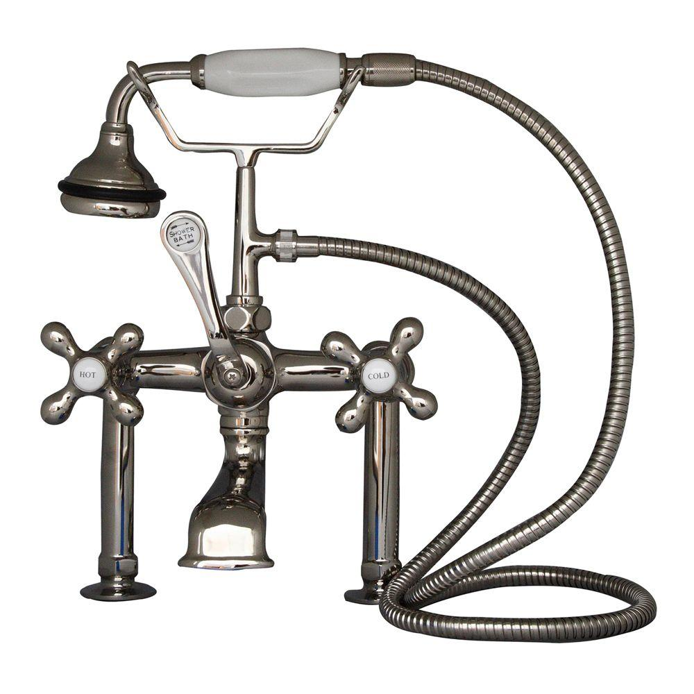 Barclay Products Metal Cross 3-Handle Claw Foot Tub Faucet with Handshower in Polished Nickel